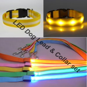 Flashing LED Adjustable Dog Collar & Leash for Pet Safety