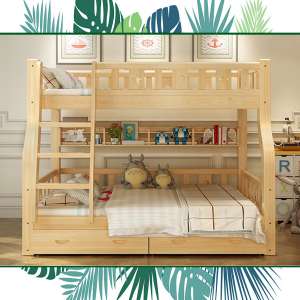 Soild Wood Bunk Bed with Straight Ladder