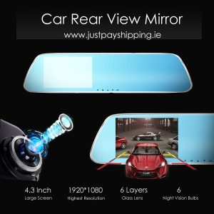 4.3 Inch Rear view Mirror Traveling Data Recorder HD 1080P Double Lens Night Vision Car Camera