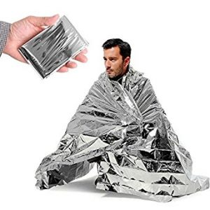 Five Emergency Blanket,Survival Reflective Thermal First Aid Foil Blanket (Silver)