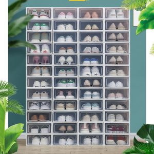 Stackable Plastic Shoe Storage Box With Clear Door 6PC