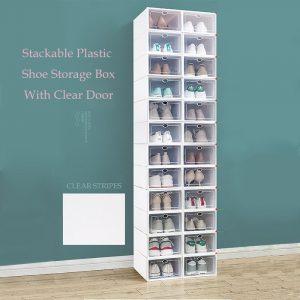 Stackable Plastic Shoe Storage Box With Clear Door