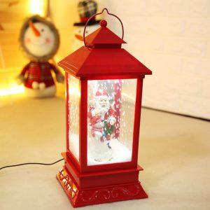 Christmas Snowman & Santa Snow Scene Lantern