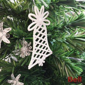 Bell Shape Glittering Ornament For Christmas Tree (Pack of 3)