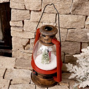 Christmas Snow Scene Lantern with Bronze Colour