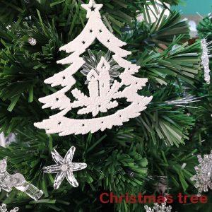 Tree Shape Glittering Ornament For Christmas Tree (Pack of 3)