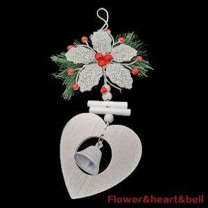 Flower, Wooden Heart & Bell Ornament For Christmas Tree