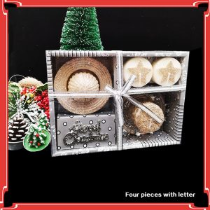 Christmas Candle Set with Glittering Letters – 4 Pieces