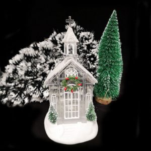 Christmas Decoration Glittering Glass House Snow Globe