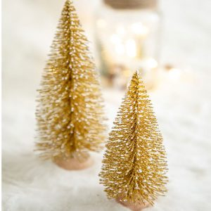 Christmas Bristle Tree Table Decoration – Gold
