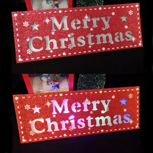 Christmas Door Sign LED With Merry Christmas Letters