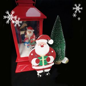 Christmas Door Sign LED Santa with Gift