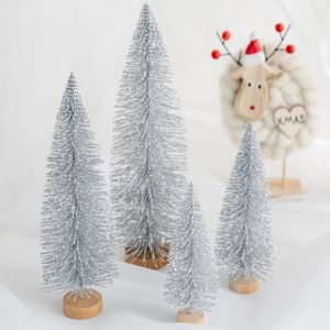 Christmas Bristle Tree Table Decoration – Silver