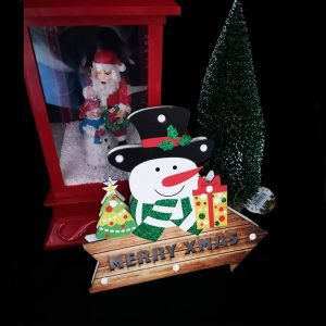 Christmas Door Sign LED Snowman with Gifts