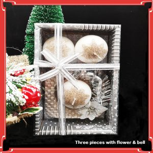 3 Piece Christmas Glitter Candle Set With Flower