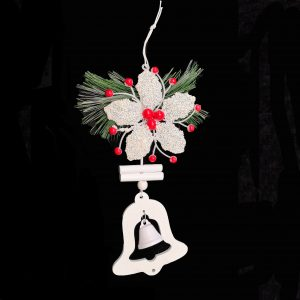 Flower, Wooden Bell Ornament For Christmas Tree