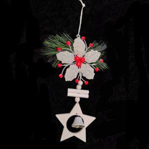 Flower, Wooden Star & Bell Ornament For Christmas Tree
