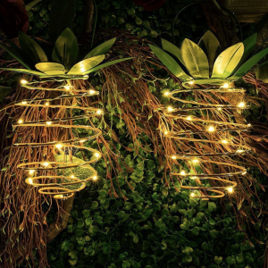 2-Pack Outdoor Decor Pineapple Solar Waterproof Garden Solar Lights, Hanging Fairy Lights