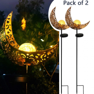 2-Pack Moon Crake Glass Globe Garden Led Solar Light