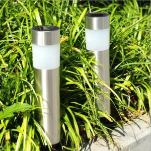 3-Pack Cylinder Stainless Steel  Solar Garden Light