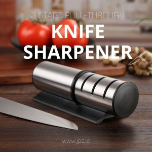 Kitchen Knife Sharpener 3 Stage Pull-Through Design with Anti-Slip Pads