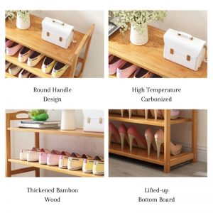 Bamboo Shoe Rack 6 Layer 80cm with Boots Place