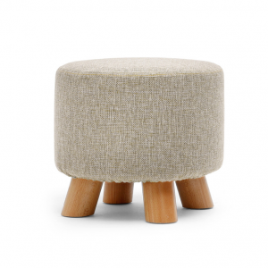 Square and Round Footrest Stool, Change Shoes Stool with 4 Wooden Legs