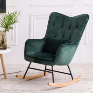 Comfortable Relax Rocking Sofa Chair, Lounge Chair,Relax Chair with Stool and Cotton Fabric Cushion