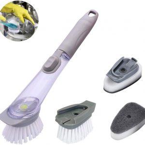 Sponge Brush Pot and Bowl Brush with detergent dispenser