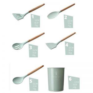 Silicone Kitchen Utensil Set with Free Storage Bucket