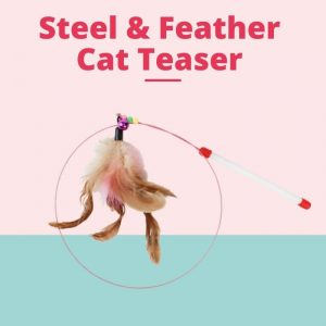 Durable Steel & Feather Cat Teaser Stick