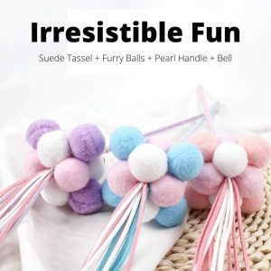 Suede Tassel & Pearl Cat Teaser Stick Toy
