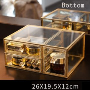 Gold Vintage Cosmetic Organiser for Makeup
