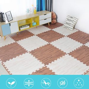 Wood Grain Foam Interlocking Floor Mats 16pcs