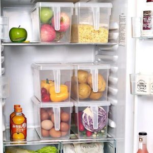 Plastic Storage Containers with Handle, Food Storage Organizer Boxes with Lids for Fridge