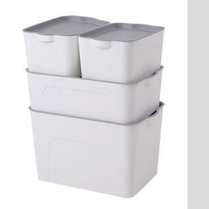 White Plastic Storage Boxes Organiser with Gray Lids 4Pcs