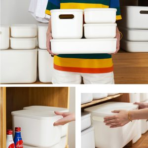 White Plastic Storage Box with Handles and Lids Set