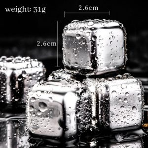 Food Grade Stainless Steel Whiskey Stones 4pcs with Storage Box