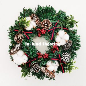 Cotton Flower with Pine Cones Door Decoration Christmas Wreath 11.8 Inch