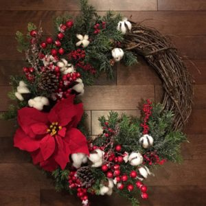 Cotton Flower Door Decoration Christmas Wreath 11.8 Inch