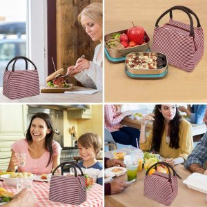 Aluminium Thermal Portable Stripe Pattern Insulated Lunch Bag