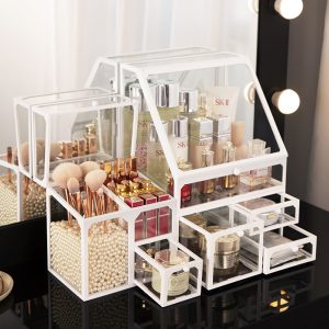Glass Beauty Stackable Set,Cosmetic Storage Organizer Set