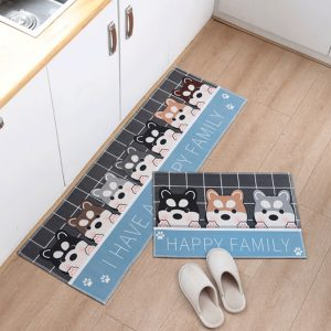 2 Pieces Non-Slip Kitchen Mat Set Rubber Backing Doormat