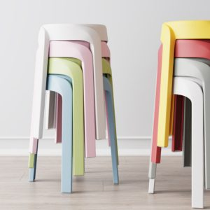 Plastic Stack Stool, Stackable Easy To Store Home Stool Chair