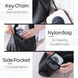 Reusable 5L Portable Nylon Grocery Bag with Key Chain Design