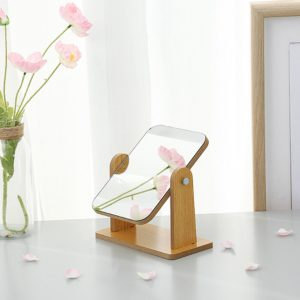 360 Degree Rotatable Wooden Tabletop Makeup Mirror