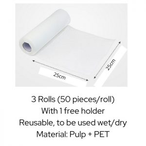 Reusable Cleaning Dish Cloth in Roll 150 Pieces with Free Stand (3 Rolls)