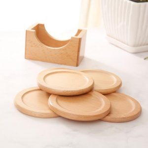 Wood Coaster Set of 5 with Case