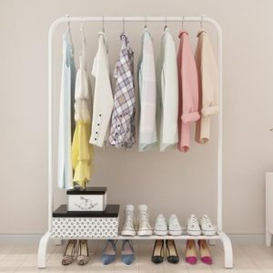 Metal Clothing Rails Garment Rack with Lower Shelves