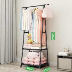 Clothes Rack with 2-Tier Storage Shelf for Shoes and Baskets